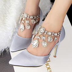 Pointed Toe Style Buckle Rhinestone Grey Women Shoes