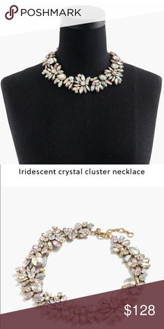 "J.Crew iridescent crystal cluster necklace Length: 16 1/2"" with a 2 1/4"" extender chain for adjustable length. A collar-style necklace with clustered crystals in a pretty iridescent coating. Brass, glass stones. Light gold ox plating. No trades. Comes with box and pouch. J. Crew Jewelry Necklaces"