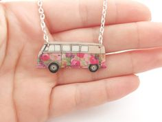 Floral VW campervan necklace in 5 different styles by Craftevan Volkswagen Bus, Vw Camper, Vw T1, Wolkswagen Van, Van Vw, My Dream Car, Dream Cars, Bugatti Veyron, Combi Wv