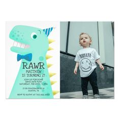 Cute Green Dinosaur Birthday Party Custom Photo Invitation