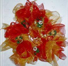 RED AND GOLD RUSTIC DECO MESH CHRISTMAS WREATH#$75.00 S/H 18.00