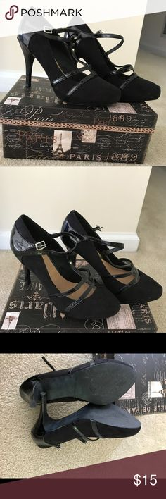 Just Fab black heels. Size 7.5 Cute, black heels from Just Fab. Size 7.5 and only worn once. Box not included JustFab Shoes Heels