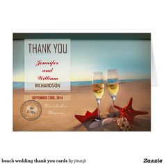 Beach Wedding Thank You Cards Invitations Stationary