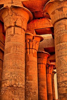 Orange Columns, Temple of Kom Ombo, Egypt by Orange Aesthetic, Aesthetic Colors, Orange Wallpaper, Egyptian Art, Happy Colors, Ancient Egypt, Live Action, Archaeology, Color Inspiration