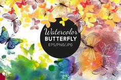 Watercolor butterfly by Tatiana_davidova on @creativemarket