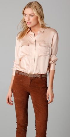 evaChic | This Equipment Signature Silk Blouse can be part both a corporate and a chic off-duty look! http://www.evachic.com/product/equipment-signature-satin-blouse/