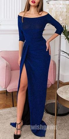 Royal Blue Sleeves Side Slit Mermaid Long Prom Dresses, Source by bubblegownus dress Prom Dresses 2017, Prom Dresses Blue, Long Dresses, Dinner Gowns, Formal Dresses With Sleeves, Long Sleeve Formal Dress, Robes D'occasion, Ladies Dress Design, Designer Dresses