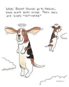 Basset Hound Artwork, Dog Owner Gift, Pet Memorial Print, Funny Angels, Floppy Ears, Dog Heaven, Dog Lover Present, Funny Office Decor Art