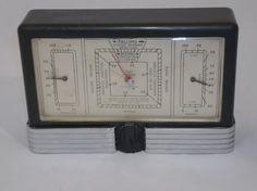1930's Brown Bakelite Art Deco Desk Weather Station Barometer