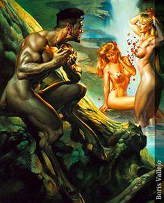 Sátiro y ninfas, de Boris Vallejo