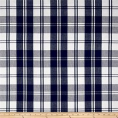 Designed by Laura & Kiran, This yarn dyed medium/heavyweight canvas features a classic plaid pattern that is perfect for window treatments (draperies, valances), toss pillows and upholstery projects. Colors include navy and white.