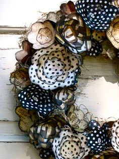 black & white - polka dot, plaid, patterned - paper flower wreath