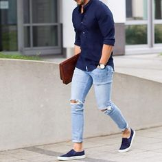 Light Blue Skinny Fit Denim With Navy Blue Shirt #Fashion