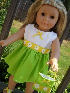 Limegreen Yellow flower print Dress with purse 18 inch American Girl doll clothes. $10.99, via Etsy.
