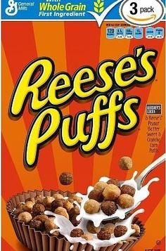Start your day with a taste of pure Americana with Reese's Puffs breakfast cereal. It brings together two American all-stars, Hersey's Chocolate and Reese's Peanut Butter Cups in this deliciously sweet and crunchy corn puff cereal. New Cereal, Kids Cereal, Cereal Boxes, Cereal Food, Crunch Cereal, Breakfast Cereal, Vegan Breakfast, Breakfast Recipes, General Mills