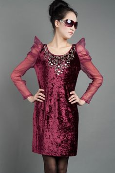 DRESS/2012 new autumn long-sleeved dress with translucent sequins M code on AliExpress.com