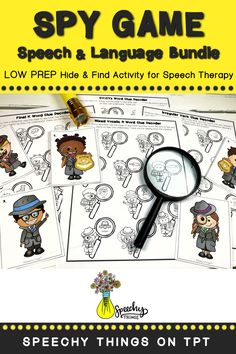 "Spy Game a series of hide & find, LOW PREP speech therapy activities. All you have to do is hide the 10 little detectives and your students will find them and help them ""decode"" their clues. Articulation games, language activities, and articulation activities have never been more fun! #speechtherapy #tpt #slp"