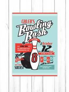 Vintage or Cosmic Bowling PRINTABLE & CUSTOMIZABLE Party Invitation - DIY - Girl and Boy color available or choose your own colors