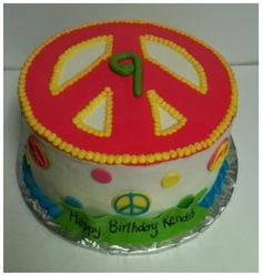 Peace sign birthday cake!