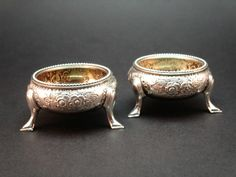 c1845 PAIR ANTIQUE VICTORIAN SOLID SILVER GILT LINED SALTS, MARTIN, HALL & Co.