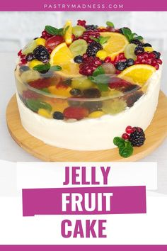 A delicate Vanilla Sponge Cake filled with delightful Cream Cheese Frosting with White Chocolate and yummy fruits and decorated with jelly and tons of fruits. Jelly Recipes, Fruit Recipes, Baking Recipes, Dessert Recipes, Desserts, Cream Cheese Filling, Cake With Cream Cheese, Cream Cheese Frosting, Fruit Sponge Cake