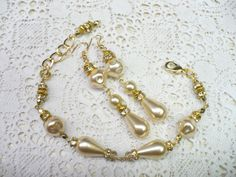 OOAK Vintage Ivory PEARL Rhinestone Bracelet and by ElegantiTesori