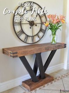 Pallet Table Plans Build a rustic console table from simple lumber. Free plans and building tutorial. - Six structural lumber boards, cut and put together to make a rustic and unique console table perfect for any entryway. Diy Furniture Projects, Diy Wood Projects, Furniture Plans, Rustic Furniture, Home Projects, Home Furniture, Antique Furniture, Woodworking Projects, Cheap Furniture