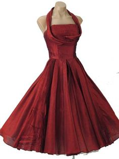 An awesome dress in my all time favorite color.  I want this dress.  50's Fred Perlberg Claret Red Shelf Bust Tea Length Party Dress