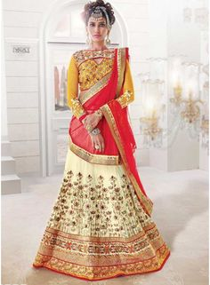 Blooming White And Red Embroidery Work Soft Net Designer Lehenga Choli. Online Buy A Line Lehenga Choli In South Africa. http://www.angelnx.com/