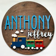 18 Train Nursery Wood Letters Name Sign Customized Baby Personalized Round Nursery Decor Boy Choo C Wood Letters Name, Wood Name Sign, Wood Names, Nursery Decor Boy, Nursery Name, Girl Nursery, Train Nursery, Baby Name Signs, Wooden Crafts