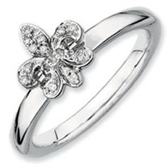 Diamond Fleur De Lis Stackable Ring In White Gold Over Silver Available Exclusively at Gemologica.com