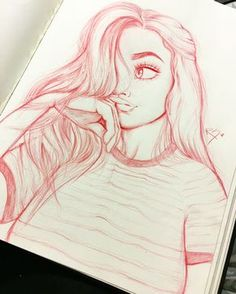 cute Pinterest  girl drawn by Christina Lorre