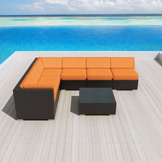 Amazon.com : Luxxella Patio Outdoor Wicker Furniture Sunbrella Genuine Collection Bella 7-piece Couch Sectional Sofa Set (Canvas Tangerine 5406) : Patio, Lawn & Garden
