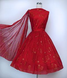 Beautiful 1950's Full Skirted Dress in Red with Gold Metallic Embroidery ~ Fabulous! DIG 2 ..