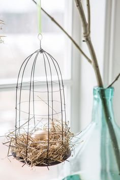 Bird Crafts, Shell Crafts, Diy And Crafts, Easter Egg Crafts, Diy Ostern, Dollar Store Crafts, Wire Art, Plant Hanger, Christmas Decorations