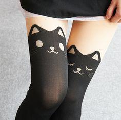 Animal Fake Thigh High Tights (Cat)