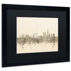 London Skyline Sheet Music by Michael Tompsett Framed Graphic Art in Black / Ivory