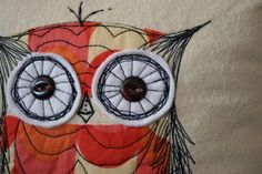 Sketch Stitch Owl Pillow with FREE INSERT by maureencracknell