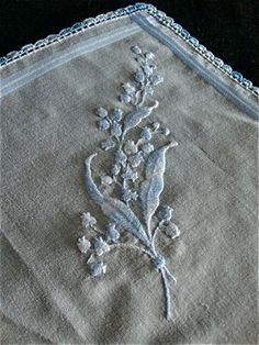 Hanky with lily of the valley embroidery