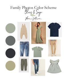 Family Photo Outfits Color Schemes - Blues & Sage are a favorite of mine! Blues are a go for me! Fall Family Picture Outfits, Spring Family Pictures, Family Picture Colors, Family Portrait Outfits, Family Photos What To Wear, Large Family Photos, Outdoor Family Photos, Family Outfits, Family Portraits