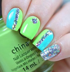 If you want a little more fun and fabulous design, you can always rely on dazzling sequence to combine with your nails. Make it as the accent but don't overdo it by putting so much. It's always good to have good green colors to combine it together.