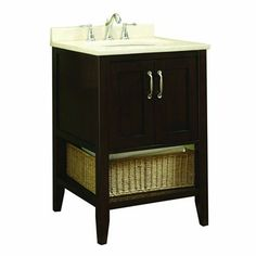 allen + roth LW113P01 Tanglewood 24-in x 23-3/4-in Espresso Single Sink Bathroom Vanity with Natural - for powder room at Lowes