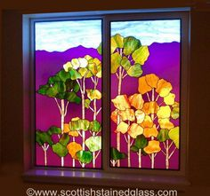 Sunset Trees Stained Glass