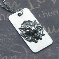 A personal favorite from my Etsy shop https://www.etsy.com/listing/250820690/lion-dog-tag-necklace-enchanted-beast