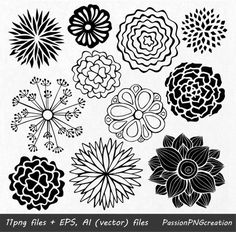 Etsy :: Your place to buy and sell all things handmade Zentangle Drawings, Zentangle Patterns, Doodle Drawings, Doodle Art, Succulents Drawing, Flower Clipart, Vector Flowers, Clip Art, Hand Drawn Flowers