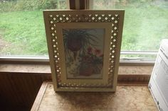 Vintage Signed Nel Cary Trellis Framed Print Plants Posies No 1343 Shabby Chic  #Vintage