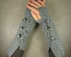 gray arm warmers made from recycled wool