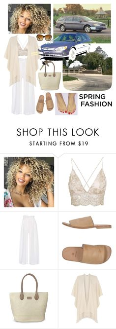 """""""Brenda Bolden's Beige-White Spring Awakening❤️👩🏼🕶☀️🌷👜👣🛣❤️"""" by chrisiggy ❤ liked on Polyvore featuring Three Graces, Moma, WearAll, Avon and Bulgari"""