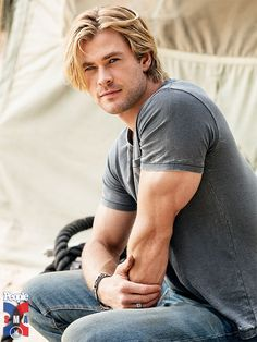 Chris Hemsworth. I love this picture, so I'm pinning it again! One of my favorites, he's so handsome it's crazy!!