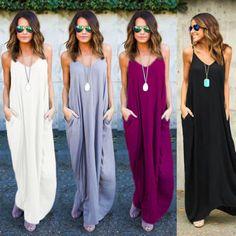 Hippie Boho Womens Summer Evening Cocktail Party Beach Long Maxi Dress S M L XXL  | eBay